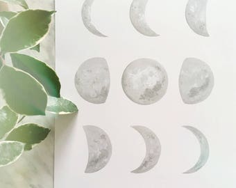 Grey Moon Phase Art, Moon Phase Print, Moon Phase Decor, Crescent Moon Art, Dreamy Moon, Boho Decor, Boho Moon, Moon Painting, Moon Phases