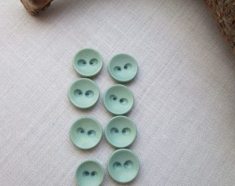 Set of Quality Vintage Buttons Duck Egg Blue 7 x 22.5mm + 1 x 19mm  1940s / 1950s