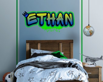 Original Digital Graffiti Art Personalized Name Vinyl Wall Decal, Sticker,  Mural For Kidu0027s Room