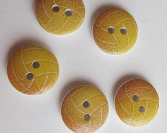 Volley Ball Buttons - wooden 1cm buttons