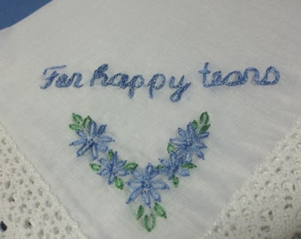 Something blue, wedding handkerchief, hand embroidered, bridal gift, bridesmaid, mother of bride, gift for bride, wedding favor, blue hanky