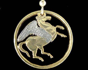 Cut Coin Jewelry - Earrings - Greece - Pegasus