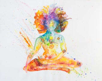 Watercolor Gouache Meditator Painting