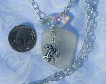 White sea glass and turtle necklace.