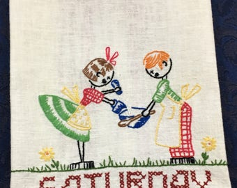 Vintage 1950s Linen Dish Kitchen Tea Towel Hand Embroidered Man and Woman Working on Saturday  T39