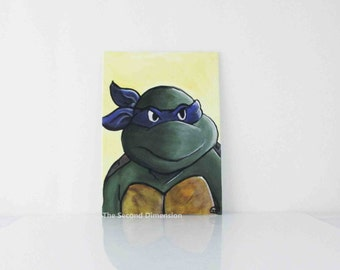 "TMNT Donatello Art Painting Teenage Mutant Ninja Turtles Small Flat Canvas - 5"" x 7"""