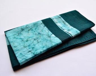 green pocket square, Cotton handkerchief, batik pocket square, Hand dyed cotton pocket square, men's Handkerchief, Green handkerchief,