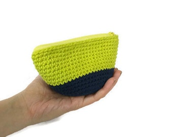 Small Crochet Pouch with Zipper and Lining, Cosmetics Pouch, Zip Pouch, Zipper Pouch, Lined Pouch, Cotton Pouch, Bags Purses, Knit Pouch Bag