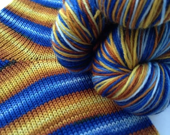 Hand dyed self striping merino sock yarn - Autumn Skies