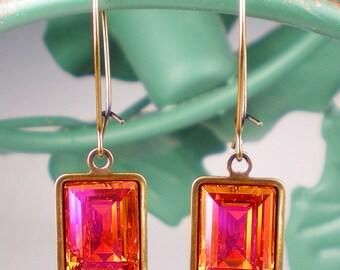 Rhinestone Earrings, Crystal Earrings, Swarovski Rhinestone, Gift For her, Drop Earrings, Astral Pink Earrings, Bridesmaid Earrings