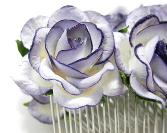 Purple Tipped White Rose Floral Hair Comb Set of Two Bridal Flower Accessory