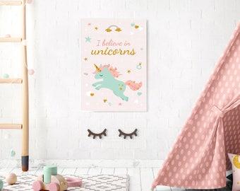 Nursery unicorn Decor, Girl Nursery, Rainbow Unicorn, Unicorn, Rainbow, Nursery Pink Decor, Baby Girl Gift, Gift for girl, Cute art, Giclee