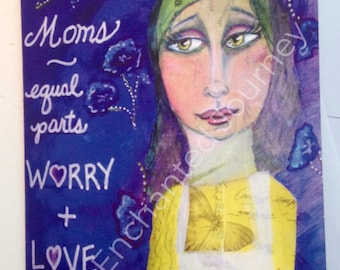 Mother's Day card, Jewish Mother, Mom, worry, love, Mothers, big eyes, apron and flowers, S&H INCLUDED