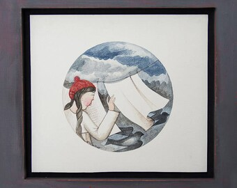 Shadows - Original Watercolor Painting Artwork with wooden frame