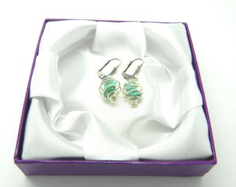 Wirewrapped Turquoise Crystal Nugget Earrings