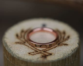 Spalted Maple Inlay Set on 14K Rose Gold Wedding Band - Staghead Designs