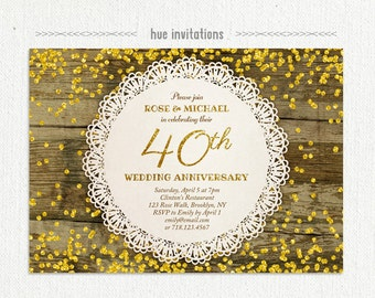 40th wedding anniversary invitation ruby anniversary party