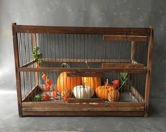 Vintage wood wire birdcage, primitive, rustic, large