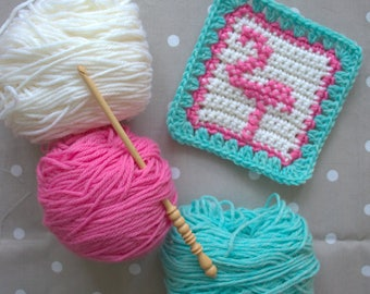 Crochet Pattern - Flamingo Crochet Square - PDF