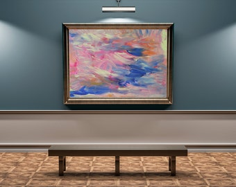 Large Abstract Acrylic Painting Print, pink blue orange,modern wall / home art, contemporary livingroom, office  decoration, happyness