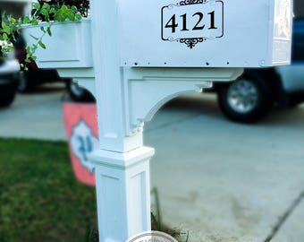 Mailbox Decal -  Flourished Box With Street Numbers