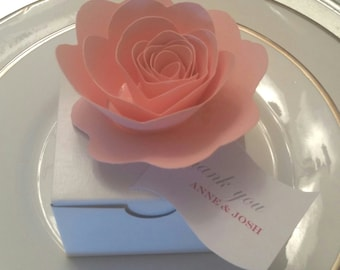 Small Paper Roses flowers, Favor Box toppers, Napkin Decor,