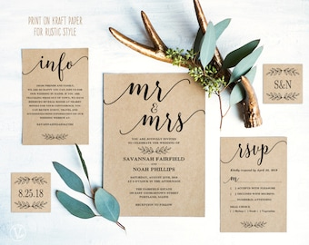 Vintage Wedding Invitation Suite Printable Wedding Invitation