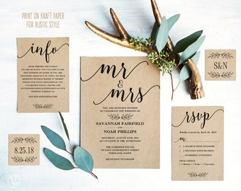 Modern Calligraphy Wedding Invitation, Printable Wedding Invitation Template, Rustic Wedding Invitation Cards, Editable Text, Mr Mrs, VW10