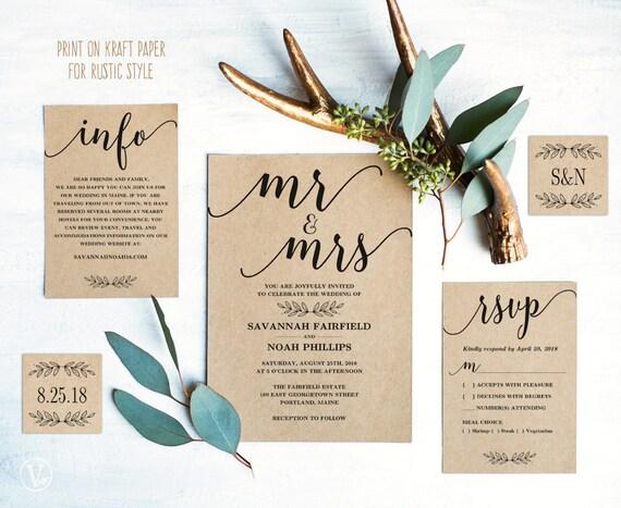 Modern calligraphy wedding invitation printable wedding invitation template rustic wedding invitation cards editable text mr mrs vw10