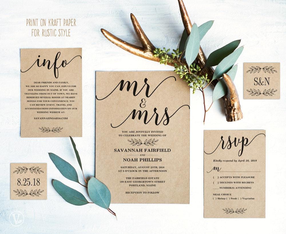 Modern Calligraphy Wedding Invitation Printable Wedding