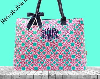 Monogram Overnight Bag - Personalized Weekend Bag - Geometric Weekend Bag - Pink and Turquoise Bag - Women's Overnight Bag