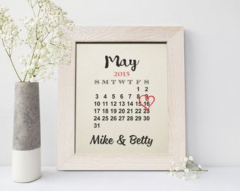 2nd anniversary gift, Cotton Anniversary Gift for Her, 2 Year Anniversary Gift, Cute Calendar