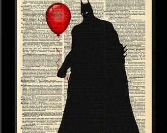 Batman Inspired Batman Red Balloon Dictionary Print 8x11
