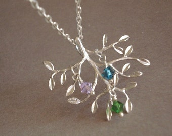 Birthstone Tree Necklace Mothers Day Necklace Silver Tree Necklace Tree of Life Necklace Personalized Jewelry Mom Child Necklace
