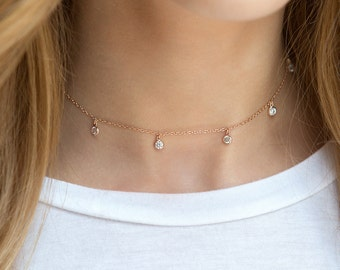 Choker Necklace, Rose Gold Crystal Chain Choker, Delicate Crystal Dangle Choker, Rose Gold Layering Necklace, Rose Gold  N354-RG