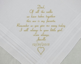 Wedding Gift for Father of the Bride Embroidered Hankerchief Personalized by Napa Embroidery
