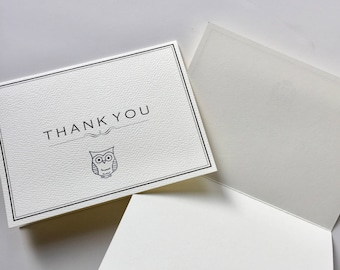Owl card Thank You Cards Owl Thank You Cards and Envelopes baby shower thank you cards birthday thank you cards