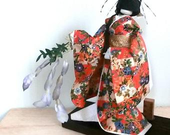 Antique Japanese Chiyogami Yuzen Washi Paper Doll - Oiran Geisya