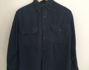 Small S Navy Blue Flannel 90s Work Shirt Minimal 80s Button Down Vintage Vtg
