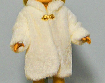 White Fur Coat with Velvet Hat - 18 Inch Doll Clothes