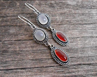 Sterling Silver grey milky moonstone deep red  carnelian gemstones earrings / Unique Handmade Jewelry / 2 inch long / (#592m)