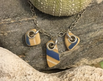 Sea glass jewelry- sea pottery necklace