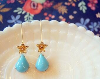 long wire lily dangle earrings- vintage robin's egg teardrop stones- matte gold