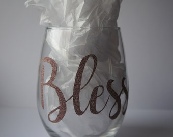 Blessed stemless wine glass