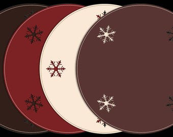 Christmas Placemats / Holiday Table Mats / Snowflakes / Table Centerpiece / Round Christmas Table Mats / Holiday Decoration