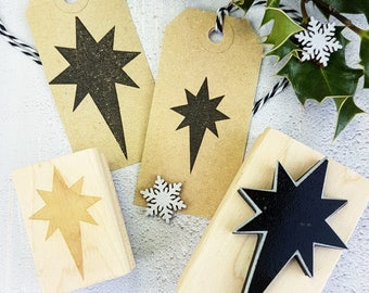 Star Stamp - Nativity Star Rubber Stamper - Christmas Stamp - Stocking Stuffer - Gift for Crafter - Christmas Gift Wrap