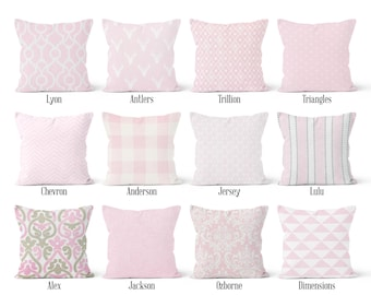 Pink Pillow Cover, Decorative Throw Pillow Covers, Euro Pillow Sham 16 x 16, 18 x 18, 20 x 20, 22 x 22, 24 x 24, 26 x 26