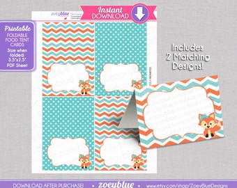 Baby shower candy making recipe cards etsy studio girl fox blank food tent cards coral teal turquoise birthday labels buffet tags name place cards foldable printable file instant download forumfinder Choice Image