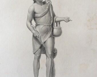 Antique 1845 Ancient FISHERMAN  Sculpture British Museum Folio Book Plate Engraving
