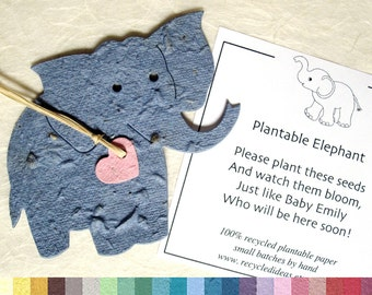 25 Flower Seed Elephant Baby Shower Favors - Plantable Paper Elephants with Personalized Elephant Favor Cards